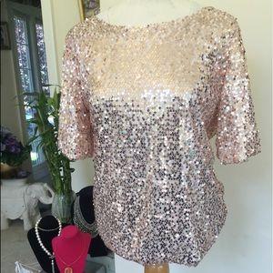 Rose Gold Sequin Shirt XL
